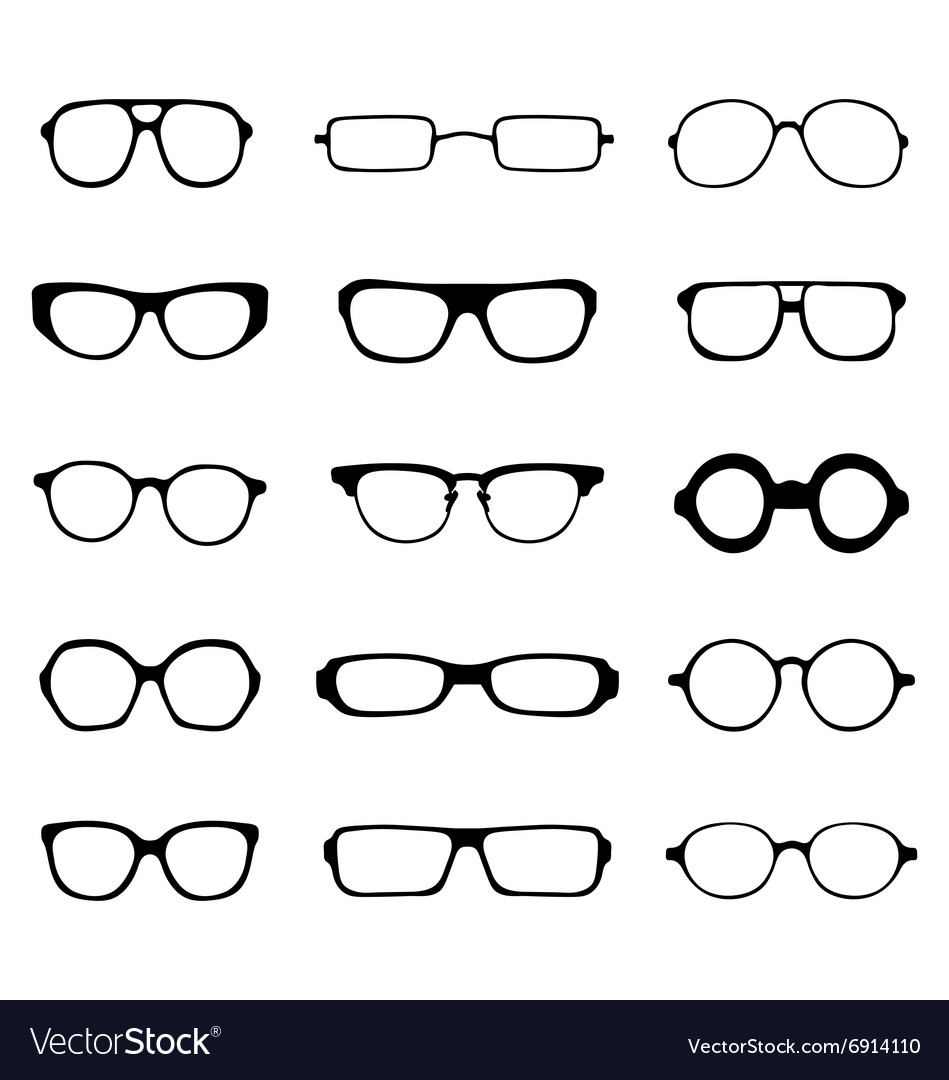 Silhouettes of eyeglasses vector