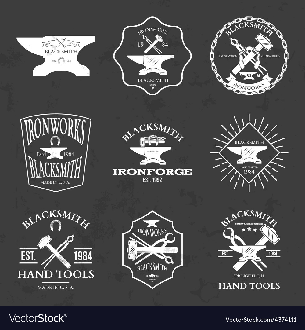 Set of vintage blacksmith labels and design vector