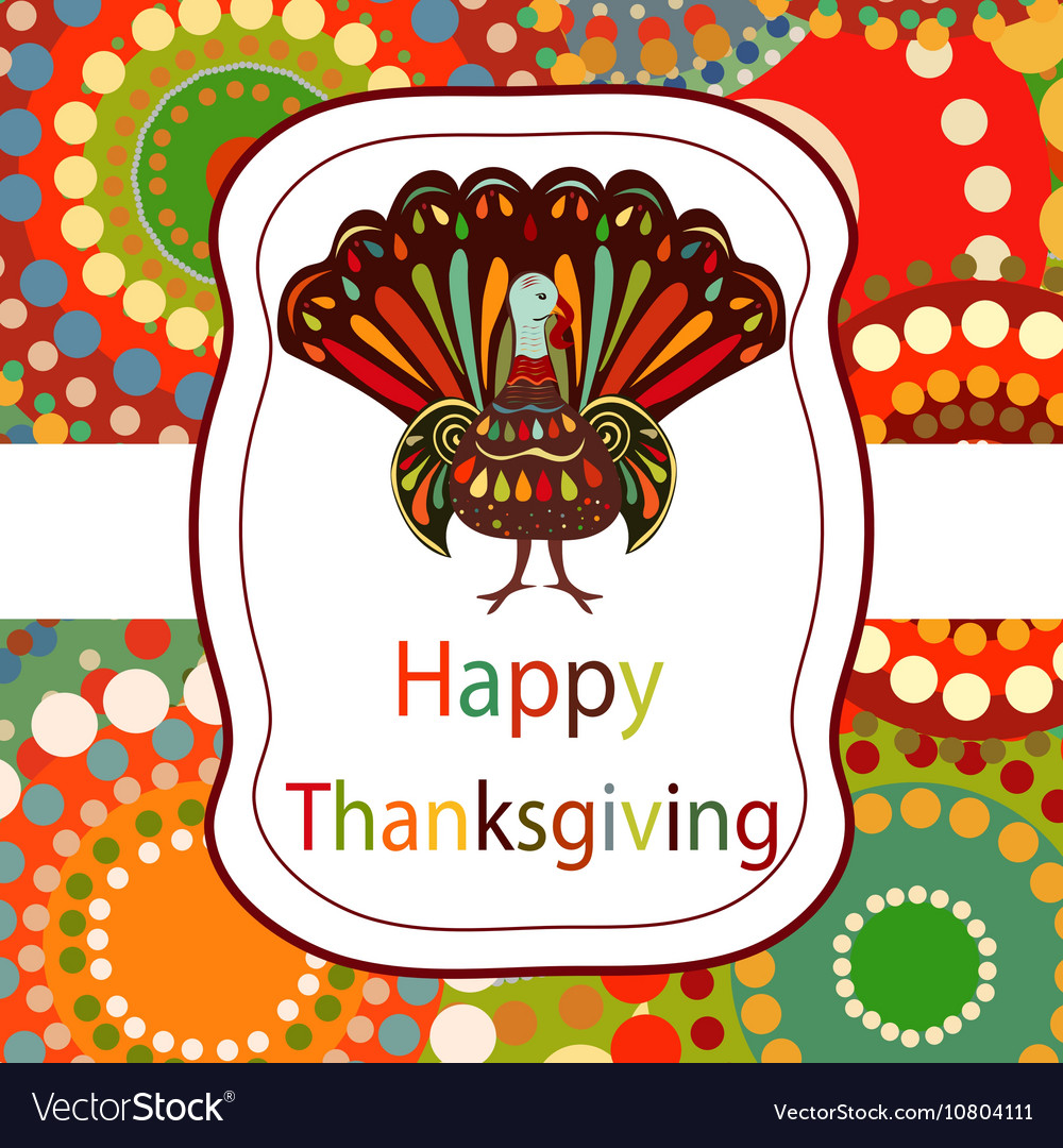 Thanksgiving day beautiful colorful ethnic turkey vector
