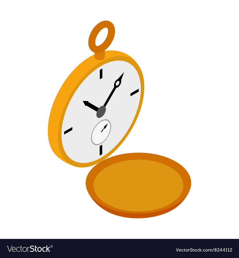 Golden pocket watch icon isometric 3d style vector