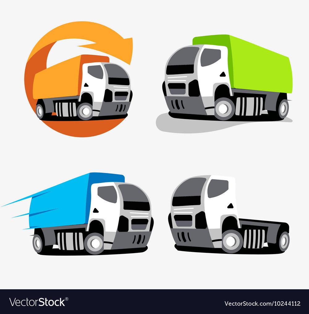 Isolated colorful truck logo set vehicles vector