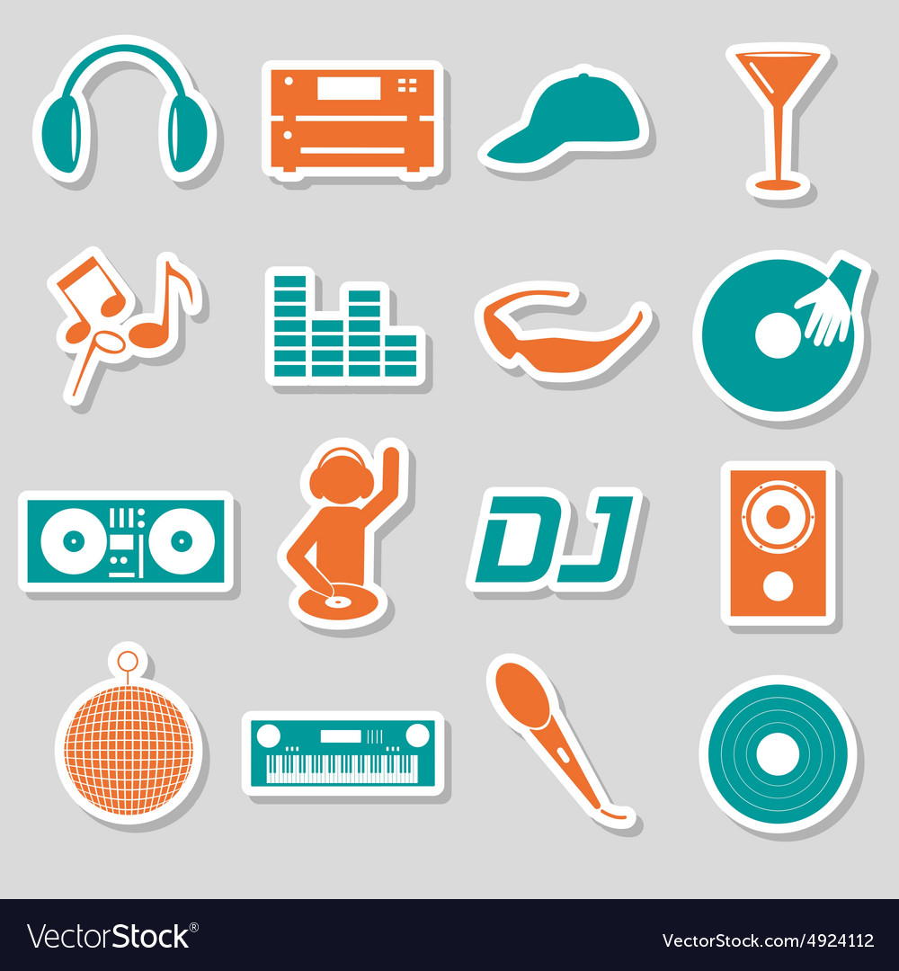 Music club dj color simple stickers set eps10 vector