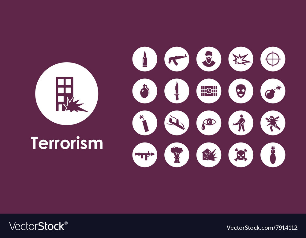 Set of terrorism simple icons vector