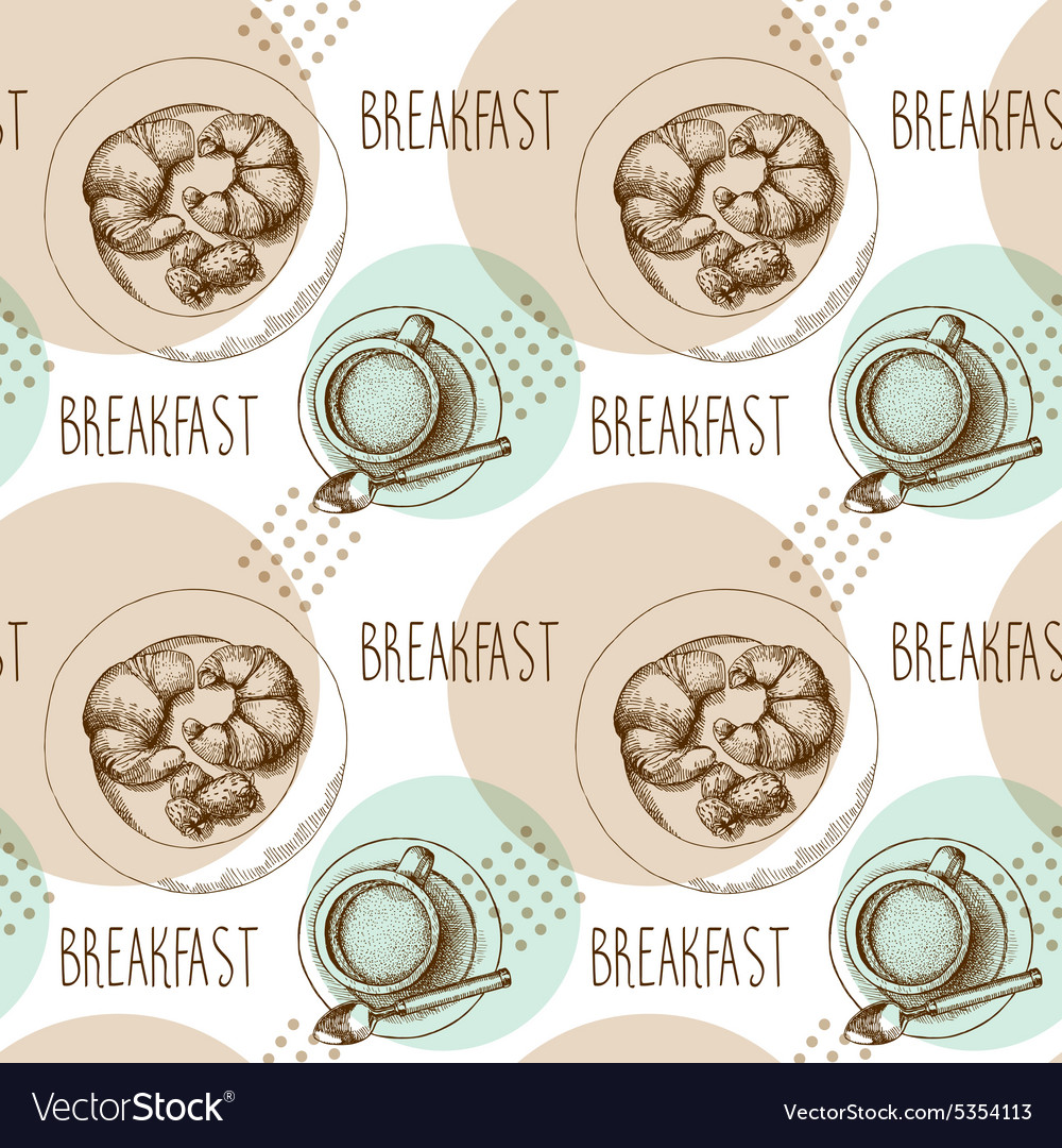 Seamless pattern breakfast vector