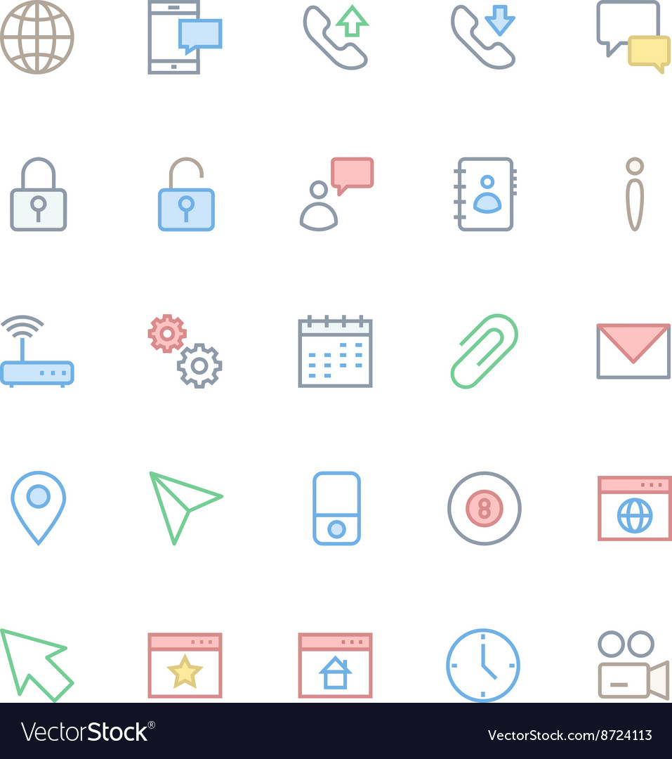 User interface colored line icons 3 vector