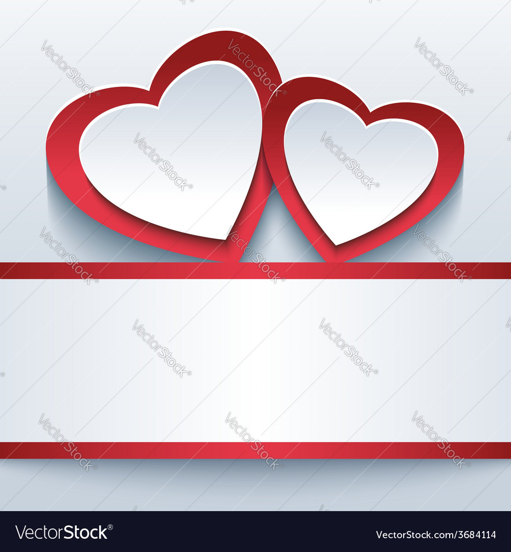 Love grey background with two 3d hearts vector