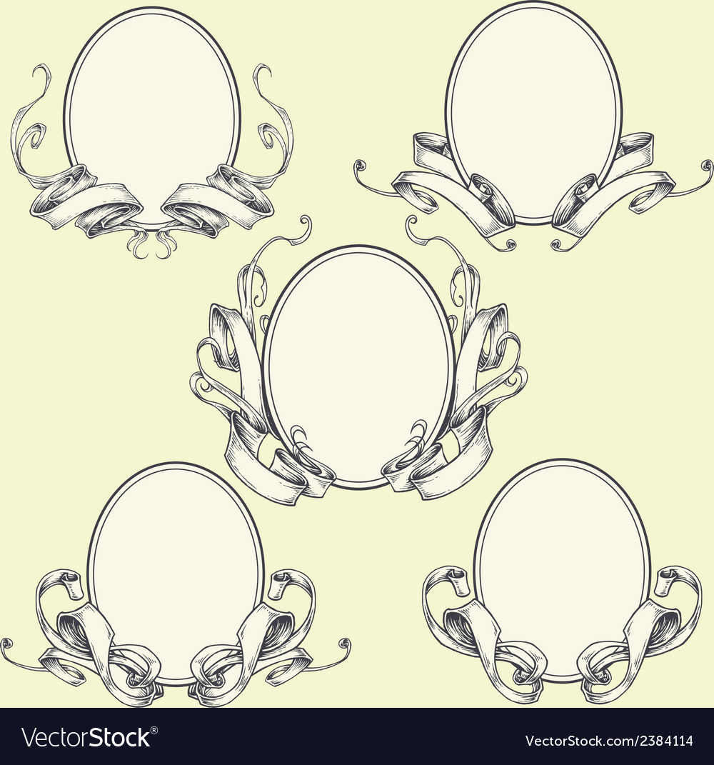 Ribbon frame and border ornaments vector