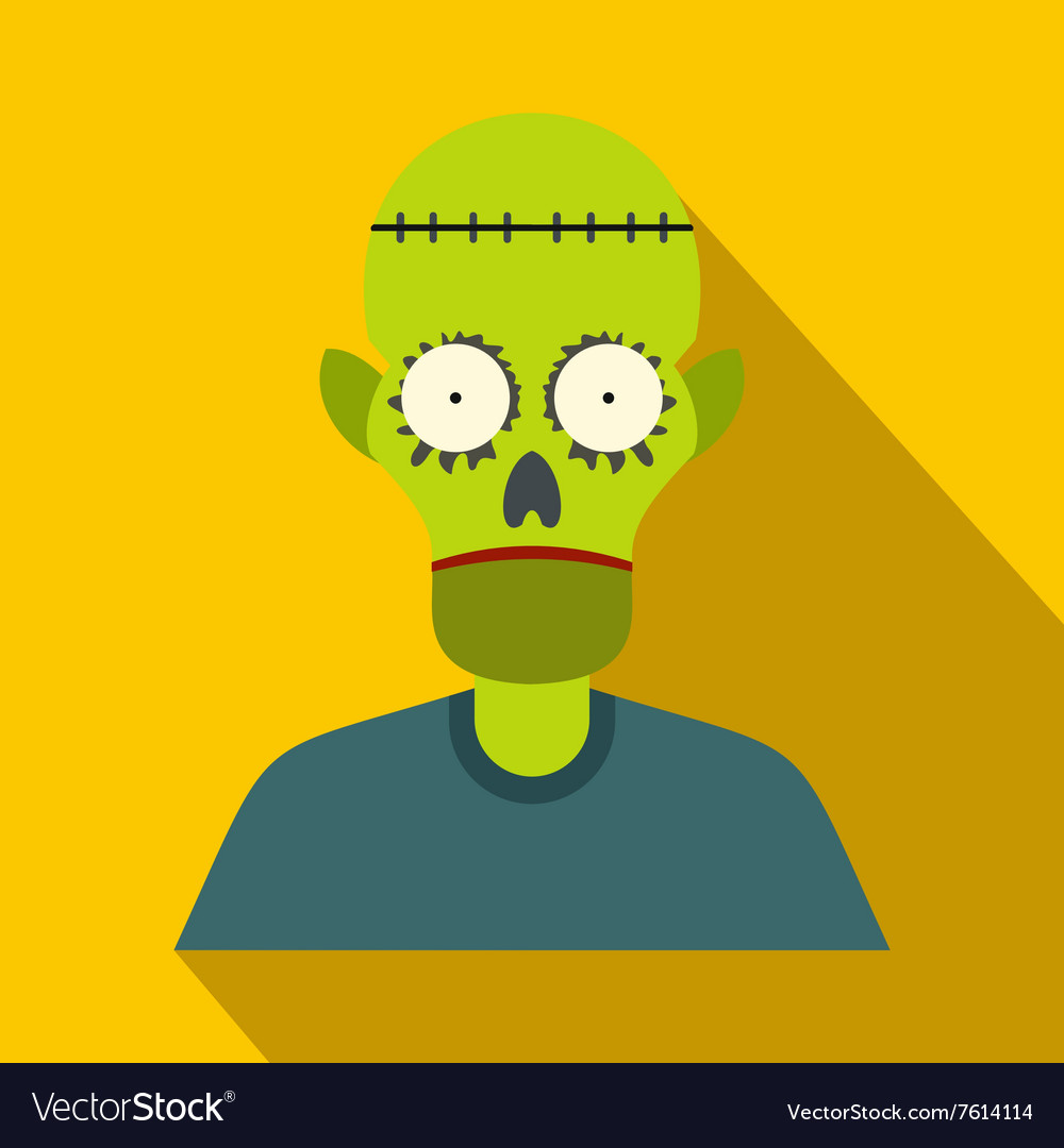 Zombie flat icon with shadow vector