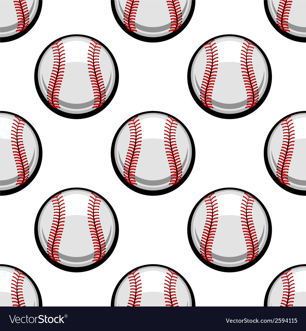 Seamless pattern of baseball balls vector