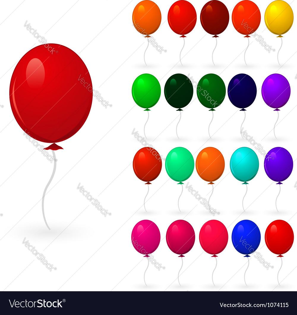 Set of colorful balloons on a white background vector