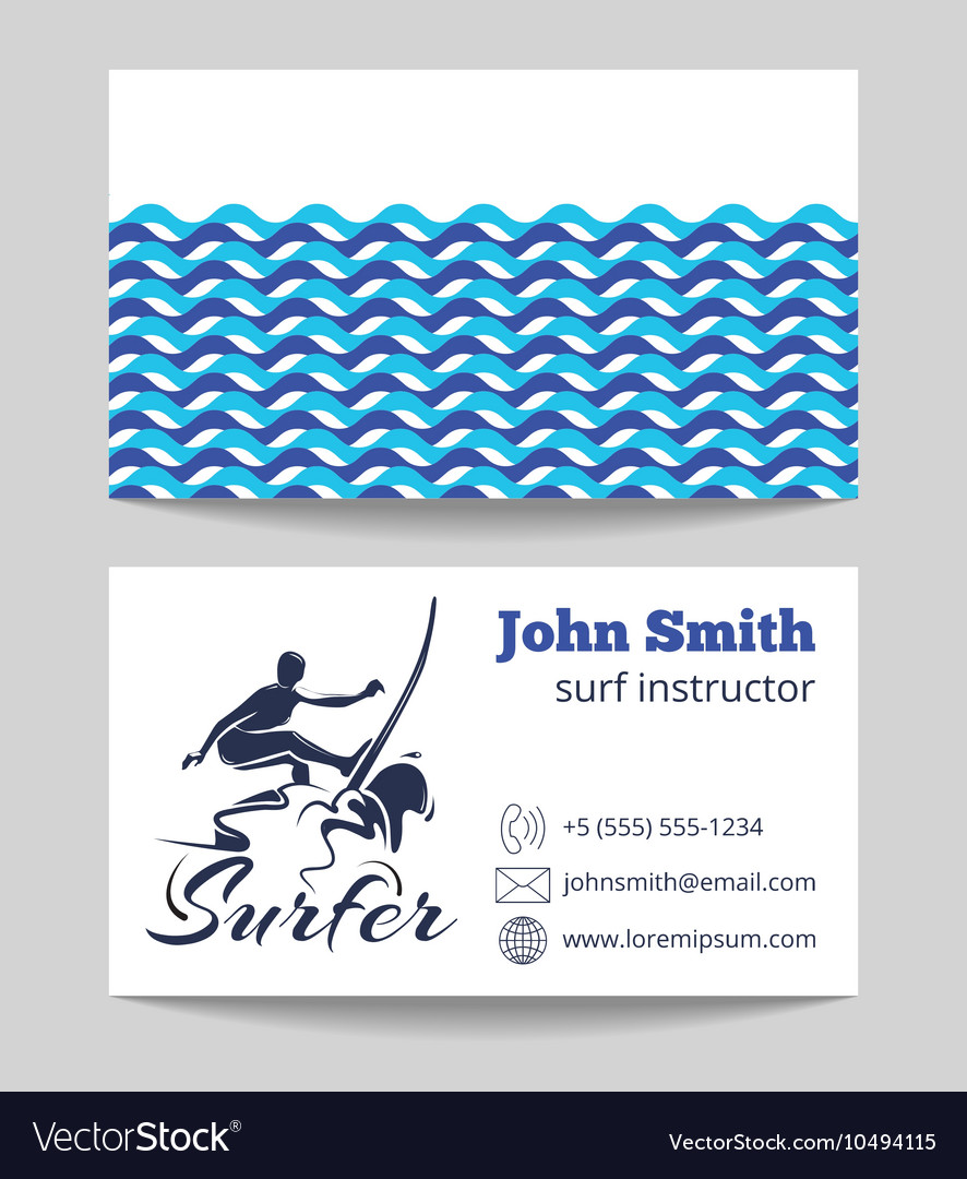 Surf business card template vector