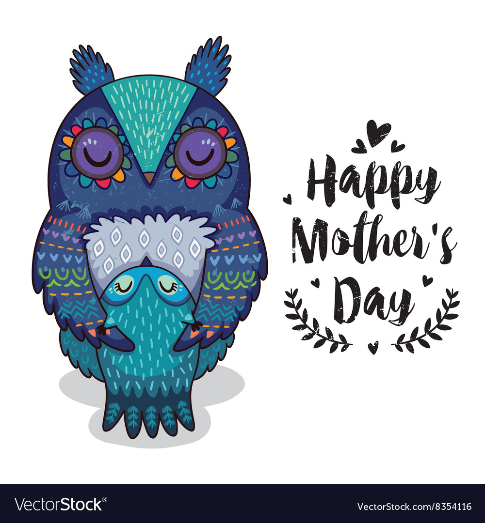 Card for mothers day with owls vector