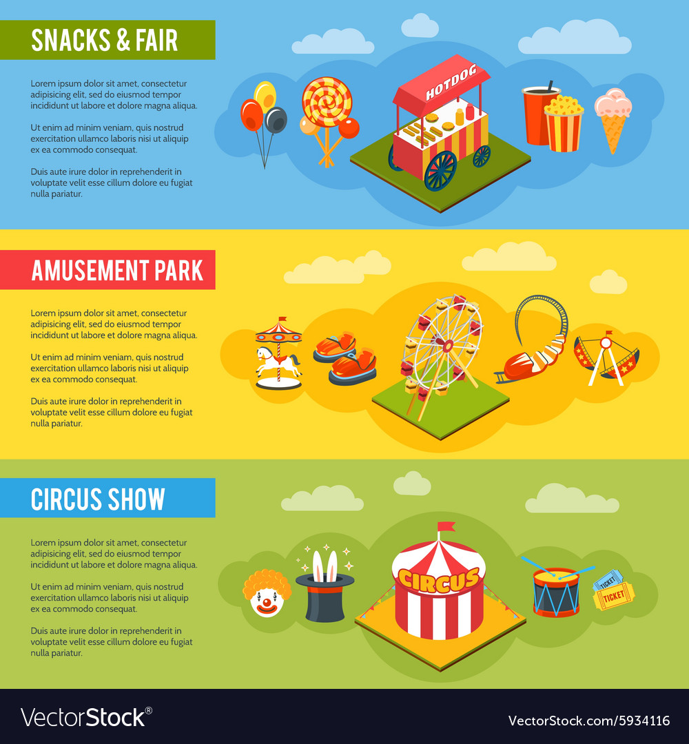 Carnival circus concept flat banners set vector