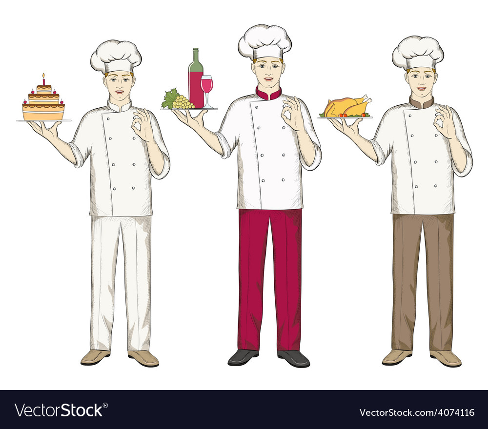 Three chefs keep food cake wine and chicken vector