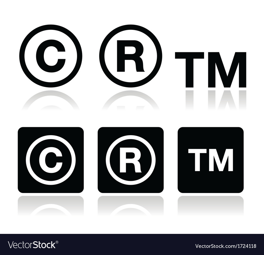 Copyright trademark icons set vector