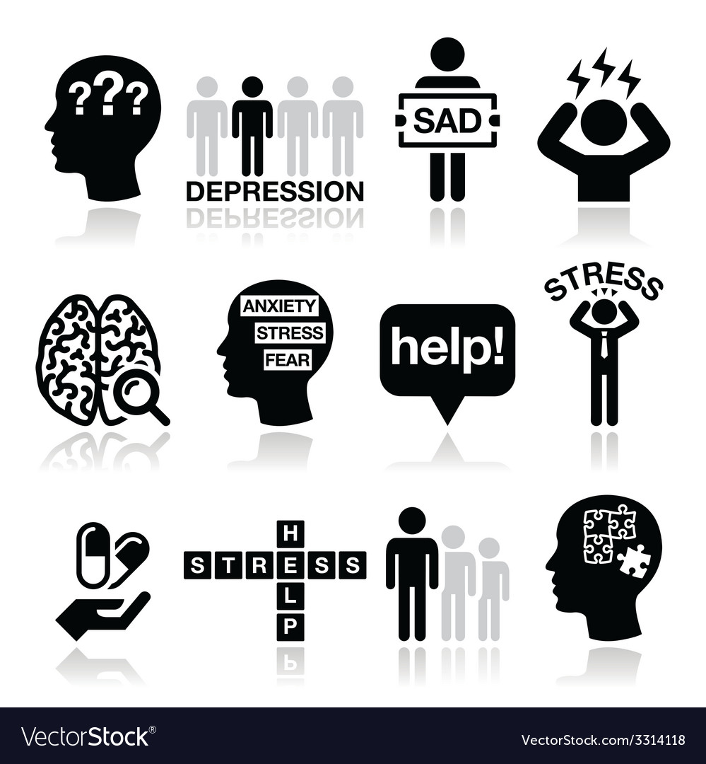 Depression stress icons set  mental health vector