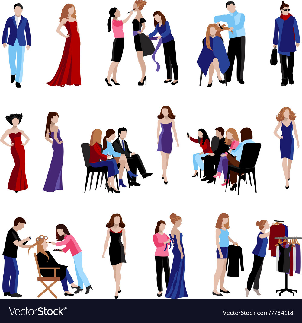 Fashion model catwalk icons vector