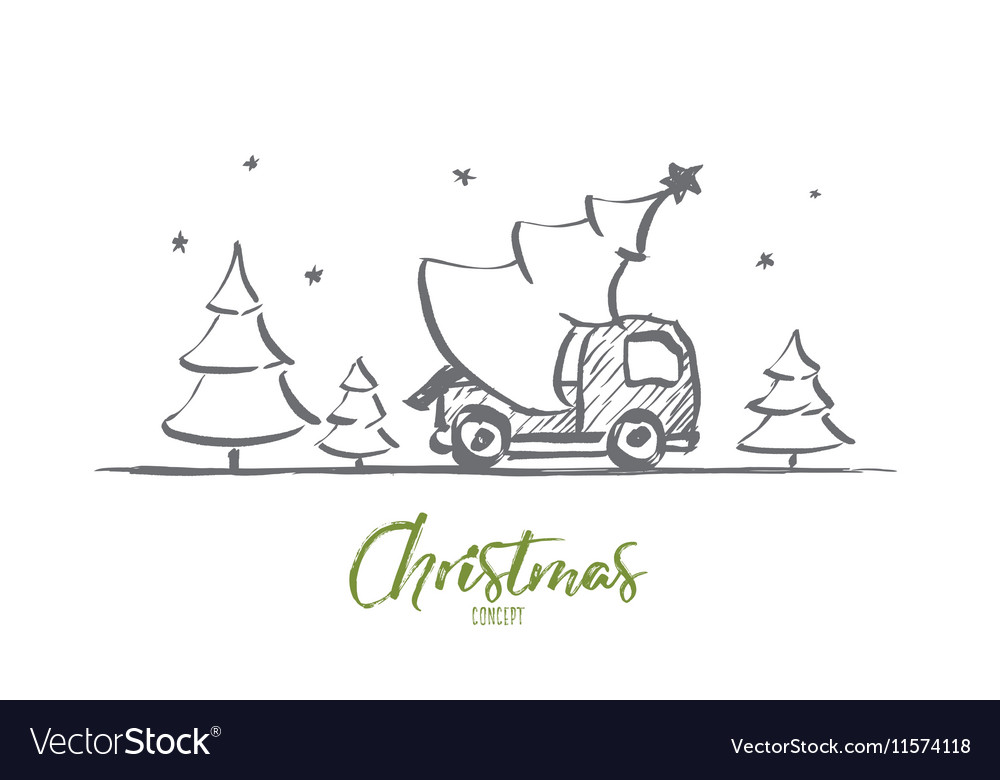 Hand drawn christmas tree in car with lettering vector