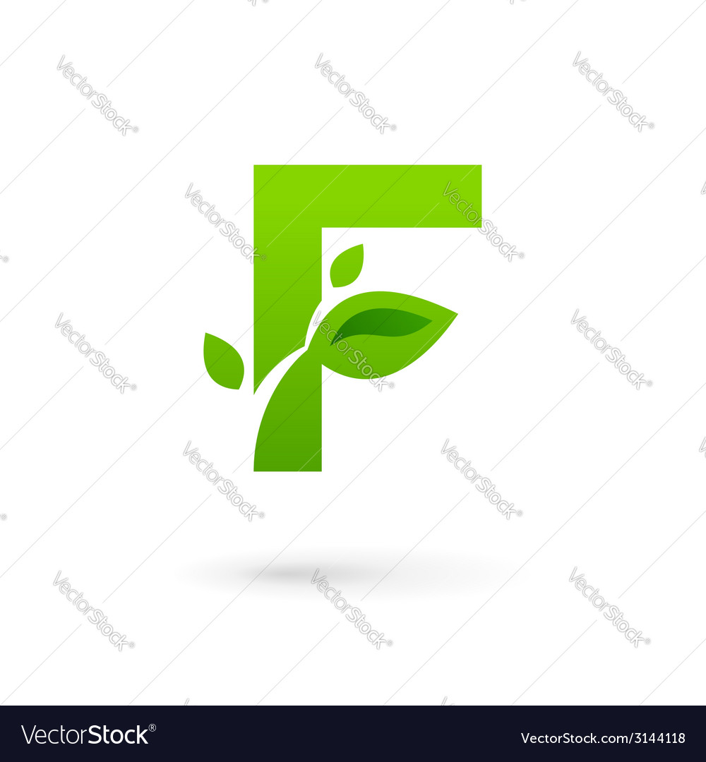 Letter f eco leaves logo icon vector
