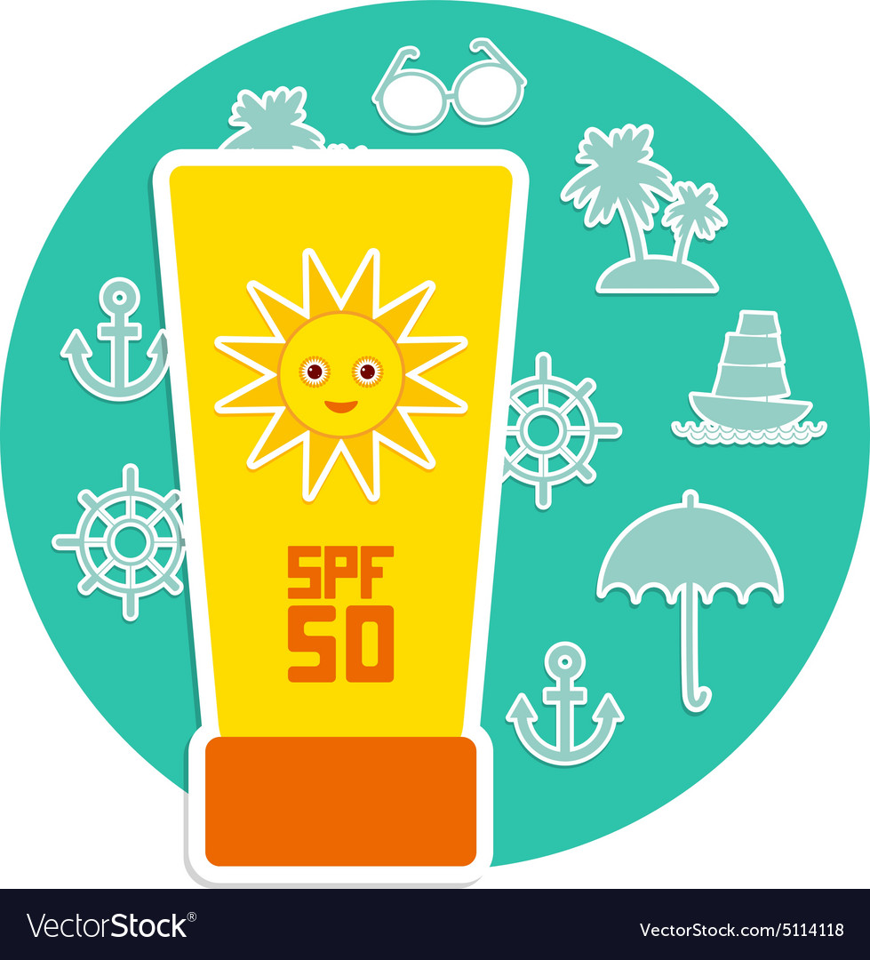 Sunscreen spf 50 set of summer vacation beach vector