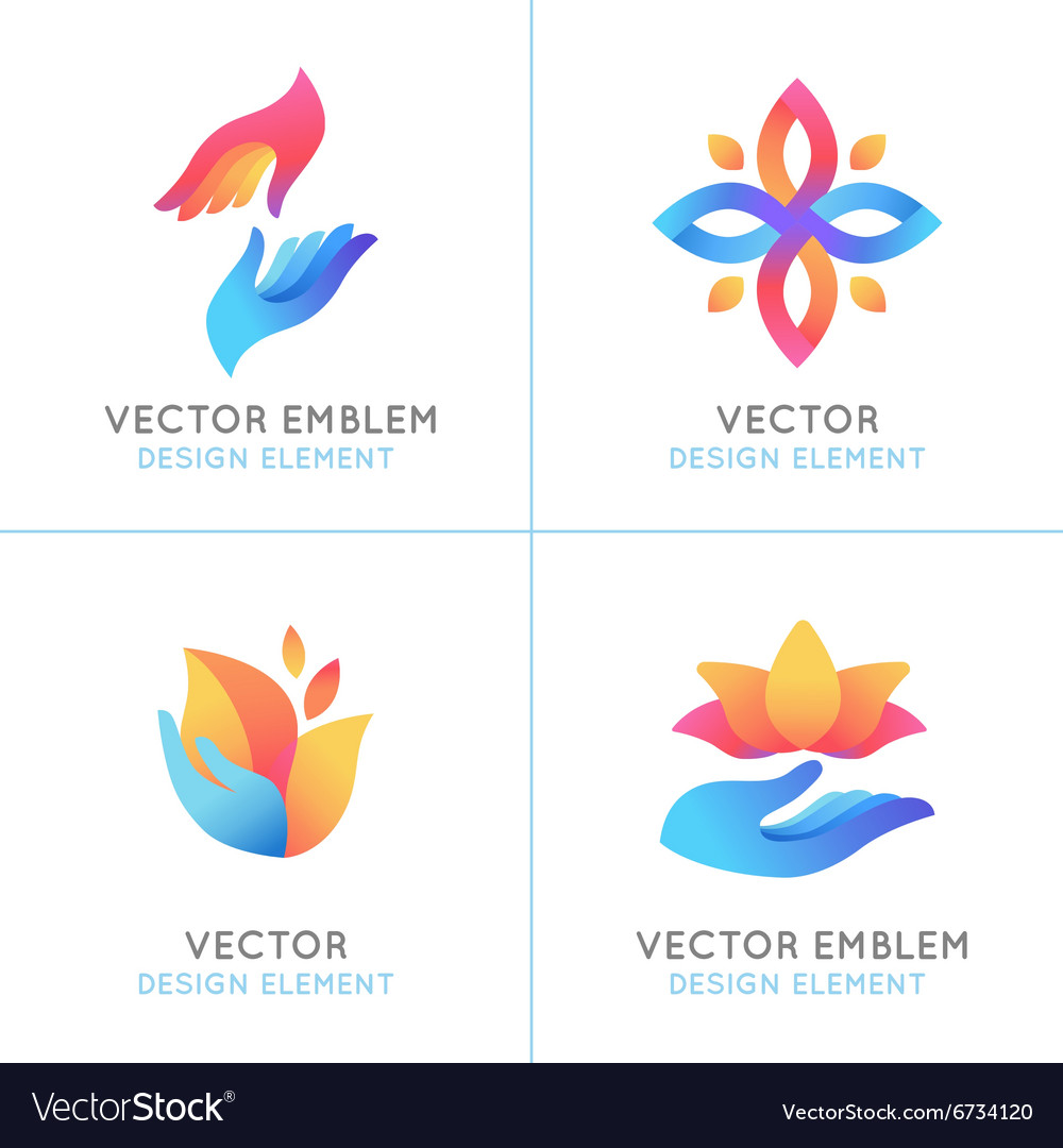 Set of gradient logo design elements vector