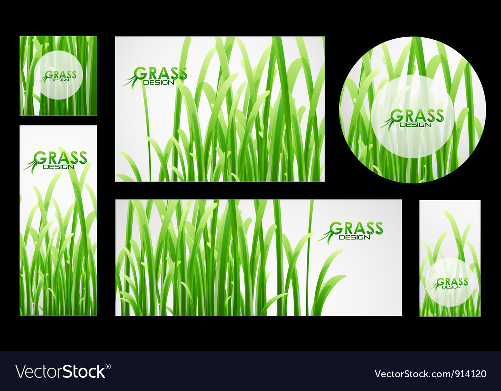 Set of grass banners vector