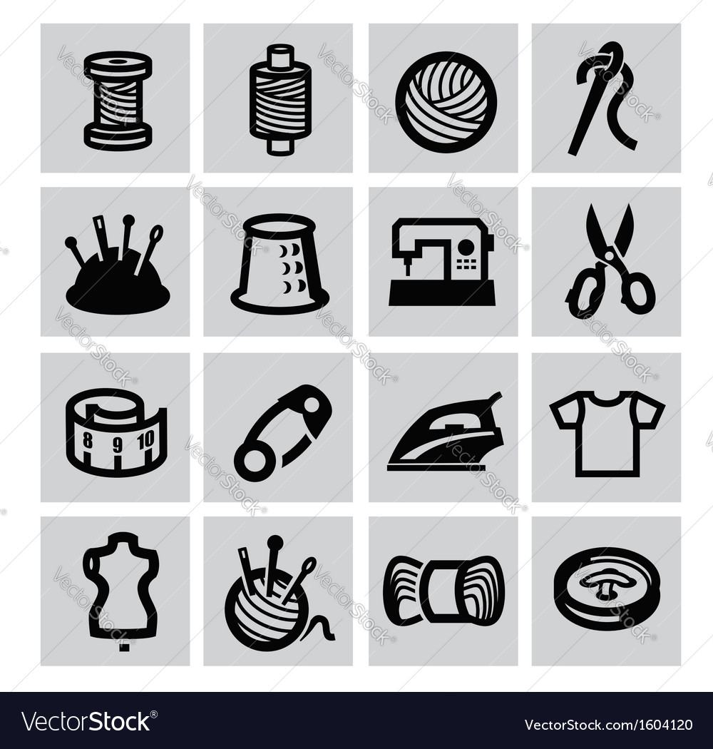Sewing equipment icon vector