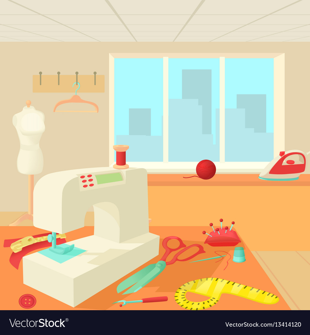 Tailor room concept cartoon style vector