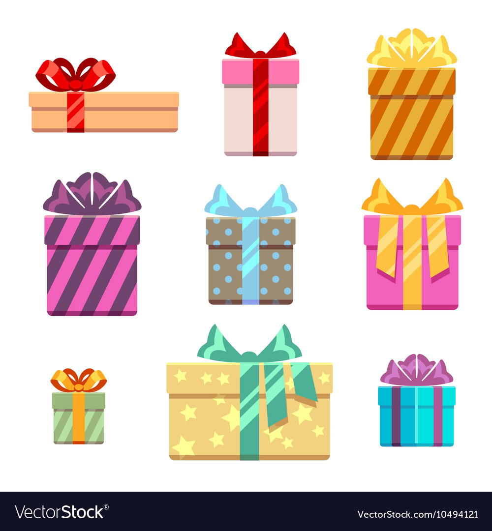 Set of gift box flat style vector