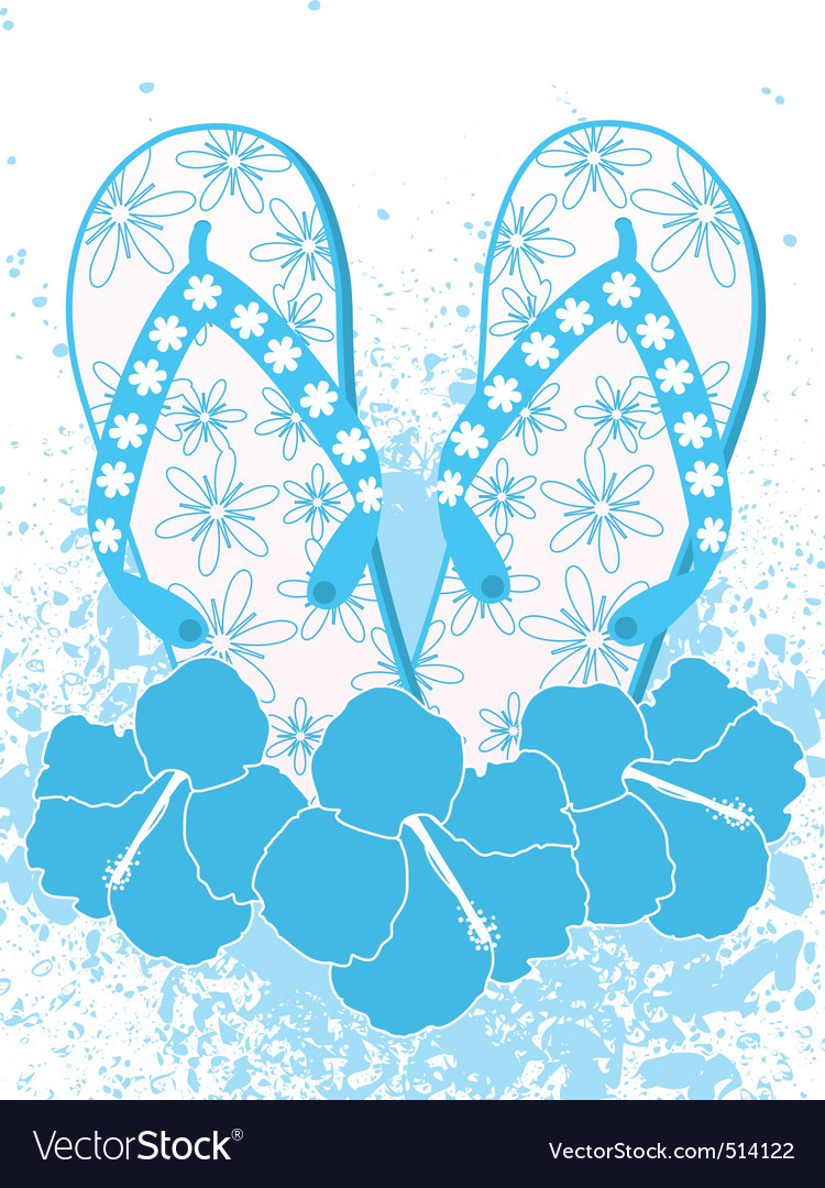 Flip flops and hibiscus flowers vector