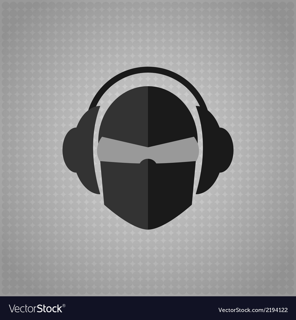 Head with glasses and headphones copy vector