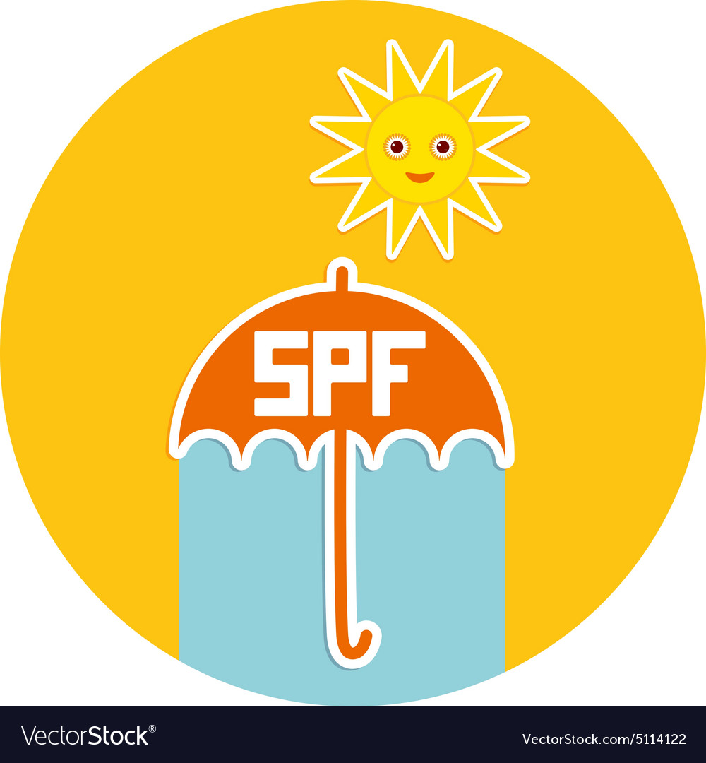 Summer vacation beach umbrella bright sun vector