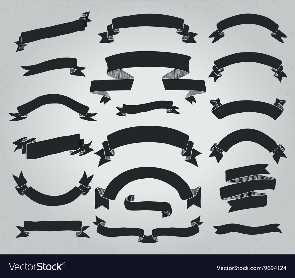 Black hand drawn rustic ribbons banners vector