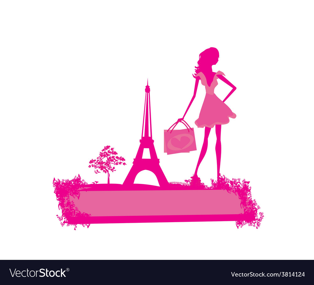 Fashion slim women silhouette shopping in paris  vector