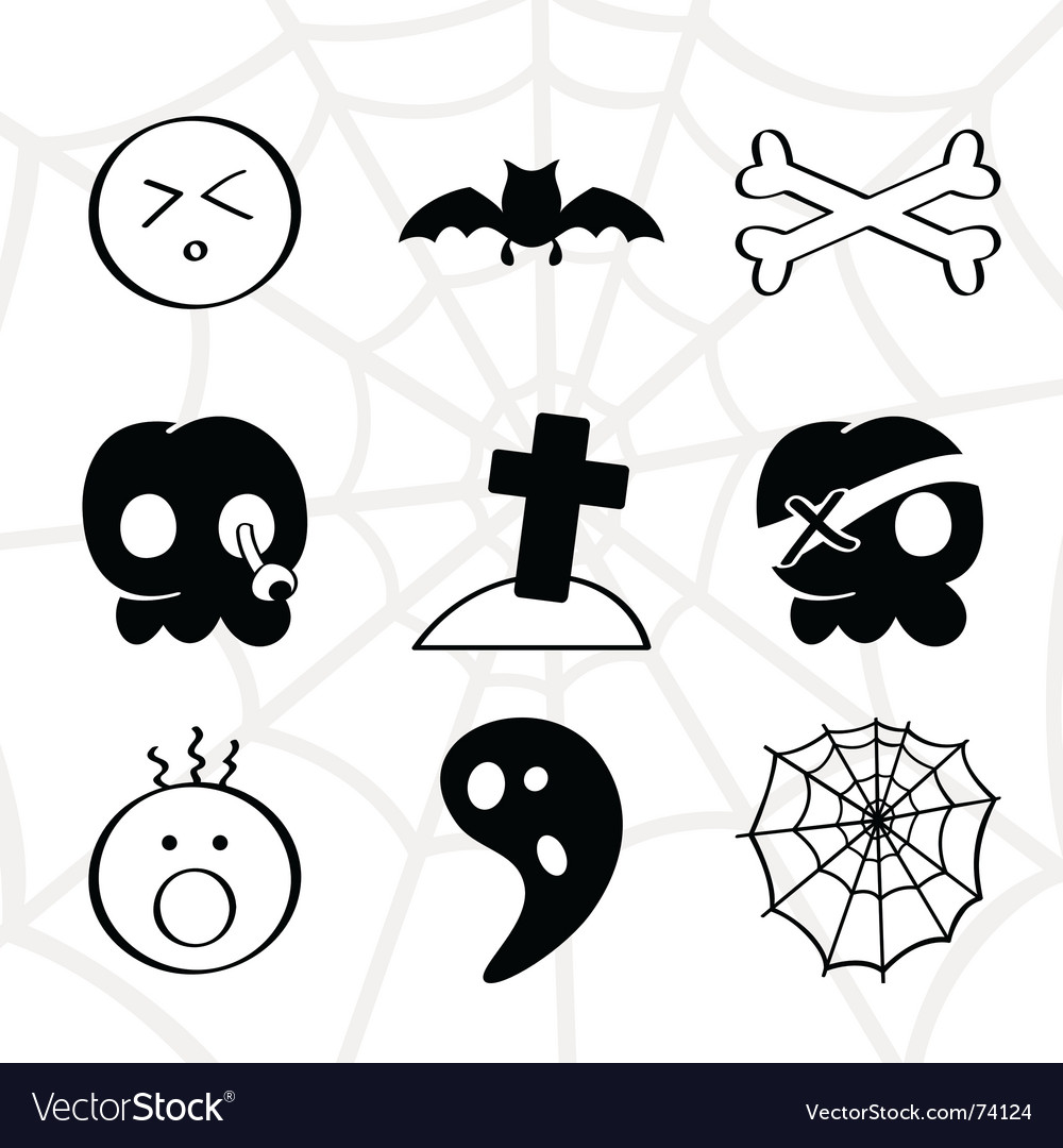 Horror icons vector