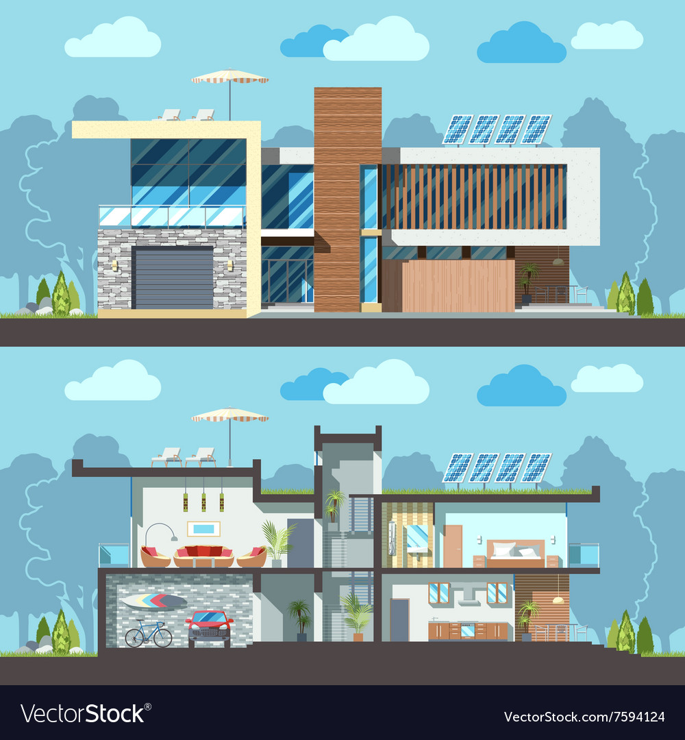 Modern house facade section vector
