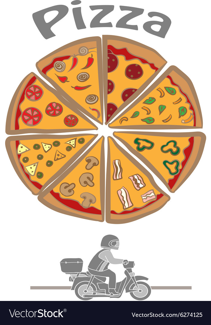Logo with pizza delivery vector