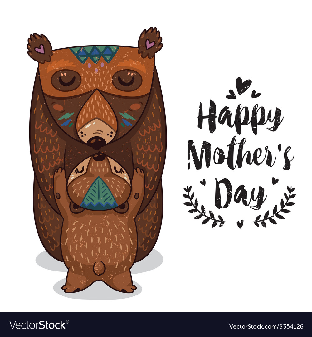 Card for mothers day with bears vector