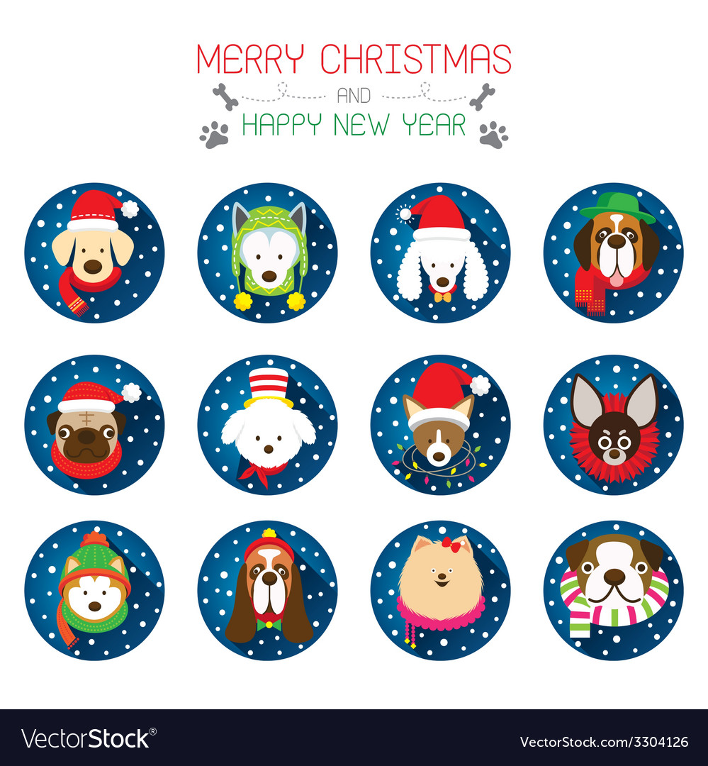 Christmas and dog breeds icons vector