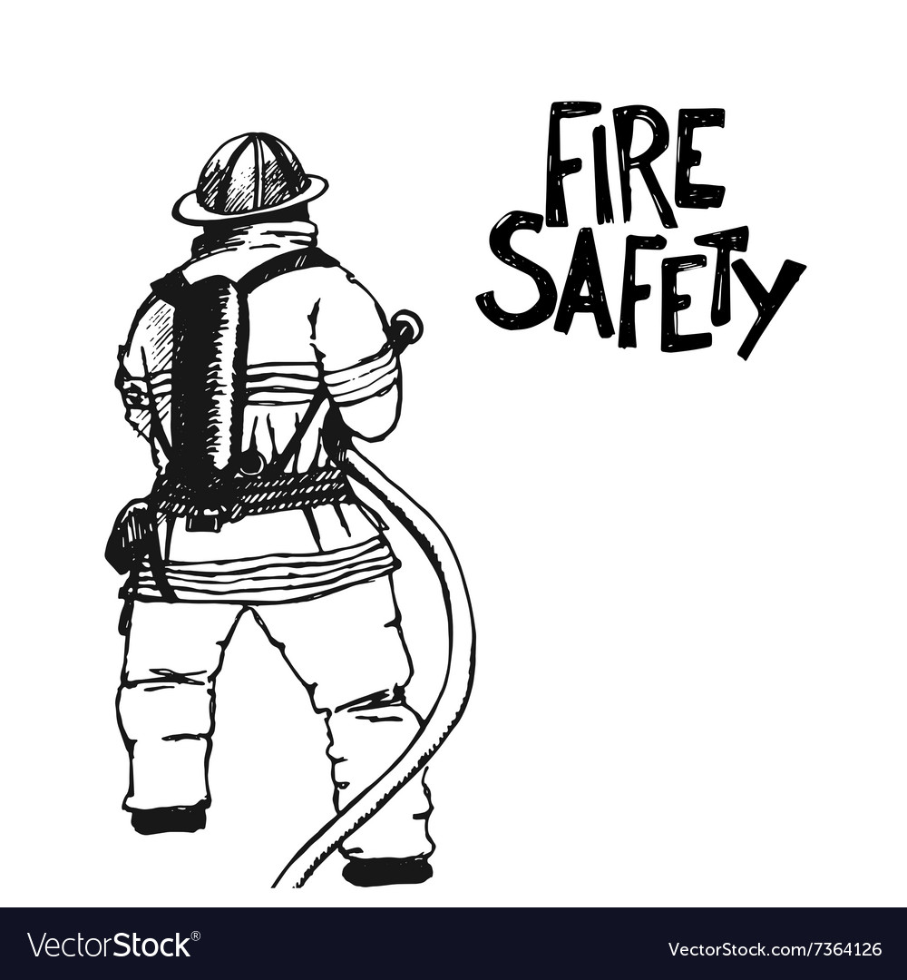 Firefighter with a hose sign vector