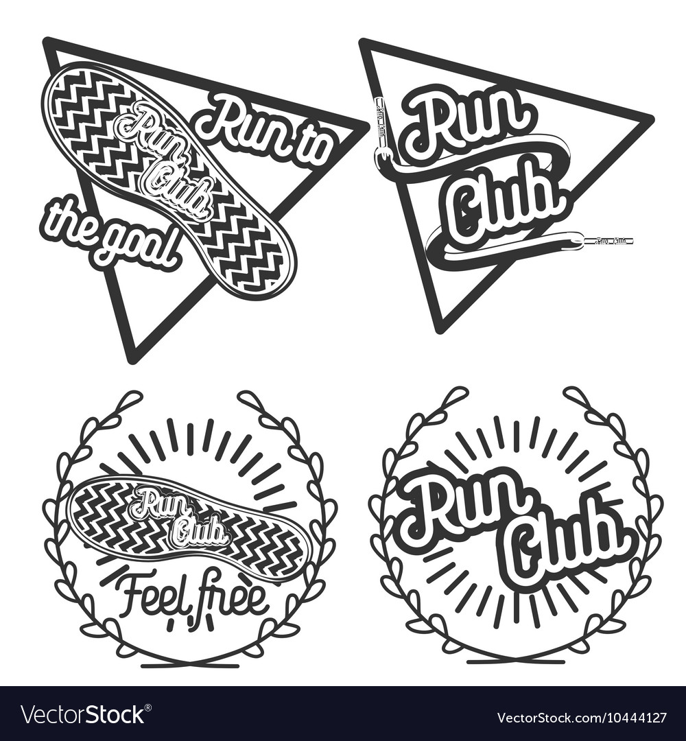 Vintage run club emblems vector