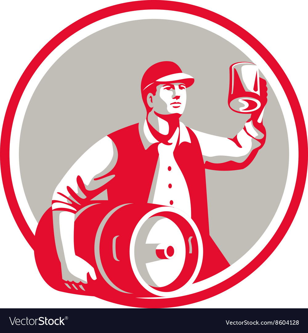 American worker keg toast beer mug circle retro vector