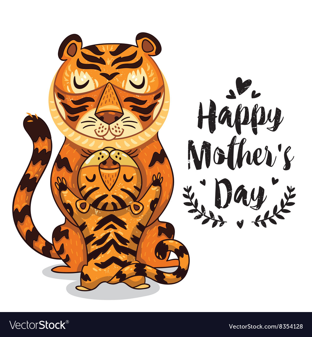 Card for mothers day with tigers vector