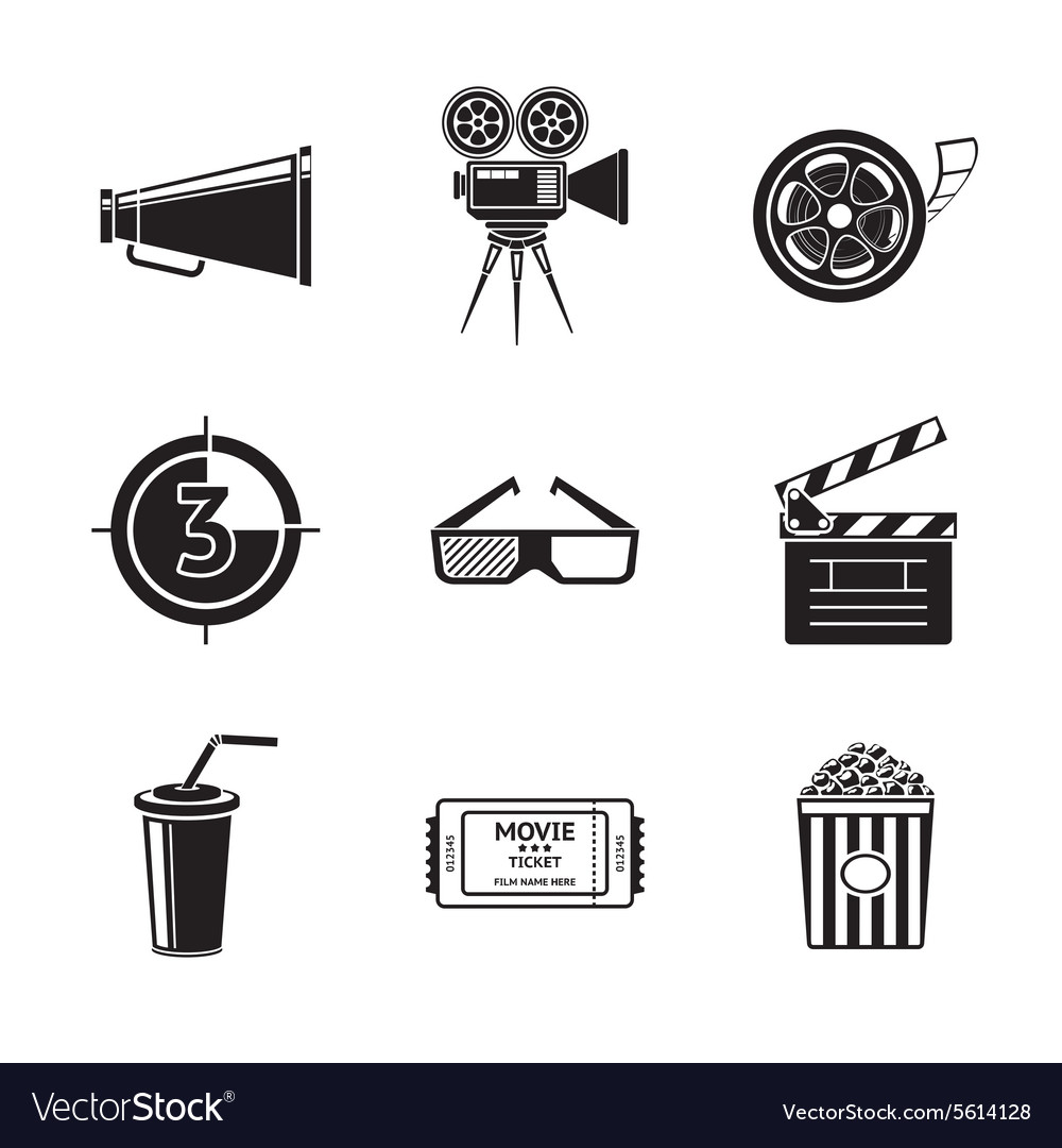 Cinema movie icons set with  projector film vector