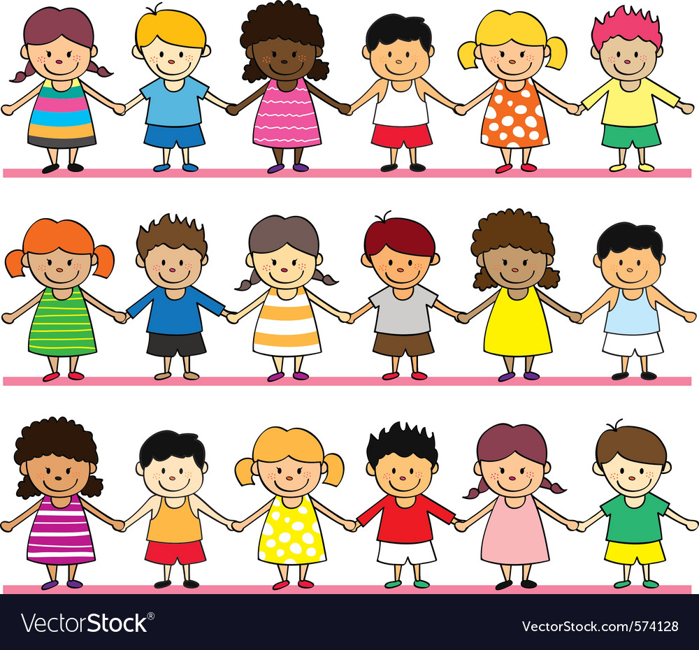 Cute children holding hand vector