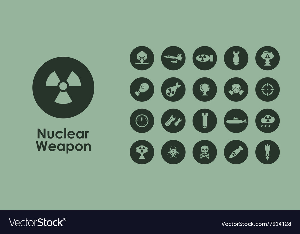 Set of nuclear weapon simple icons vector