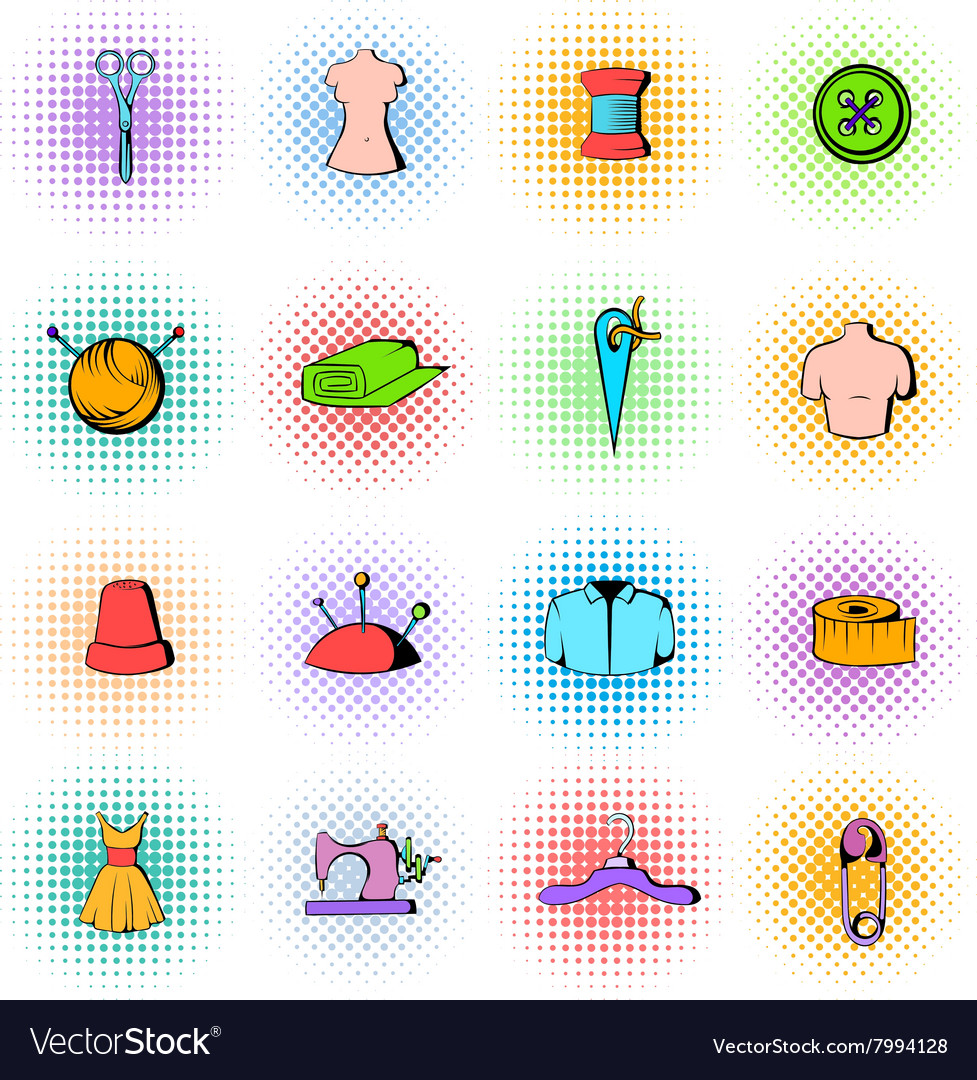 Tailor elements icons set comics style vector