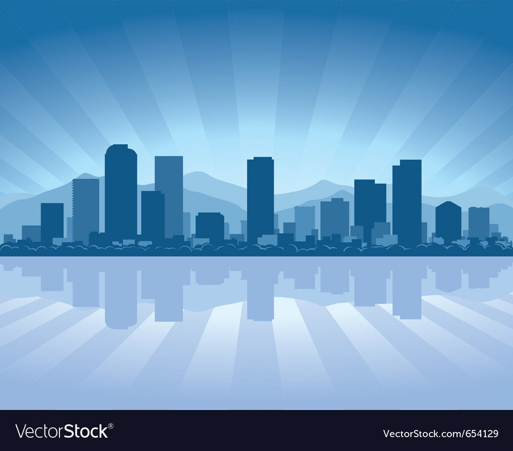 Denver skyline with reflection in water vector
