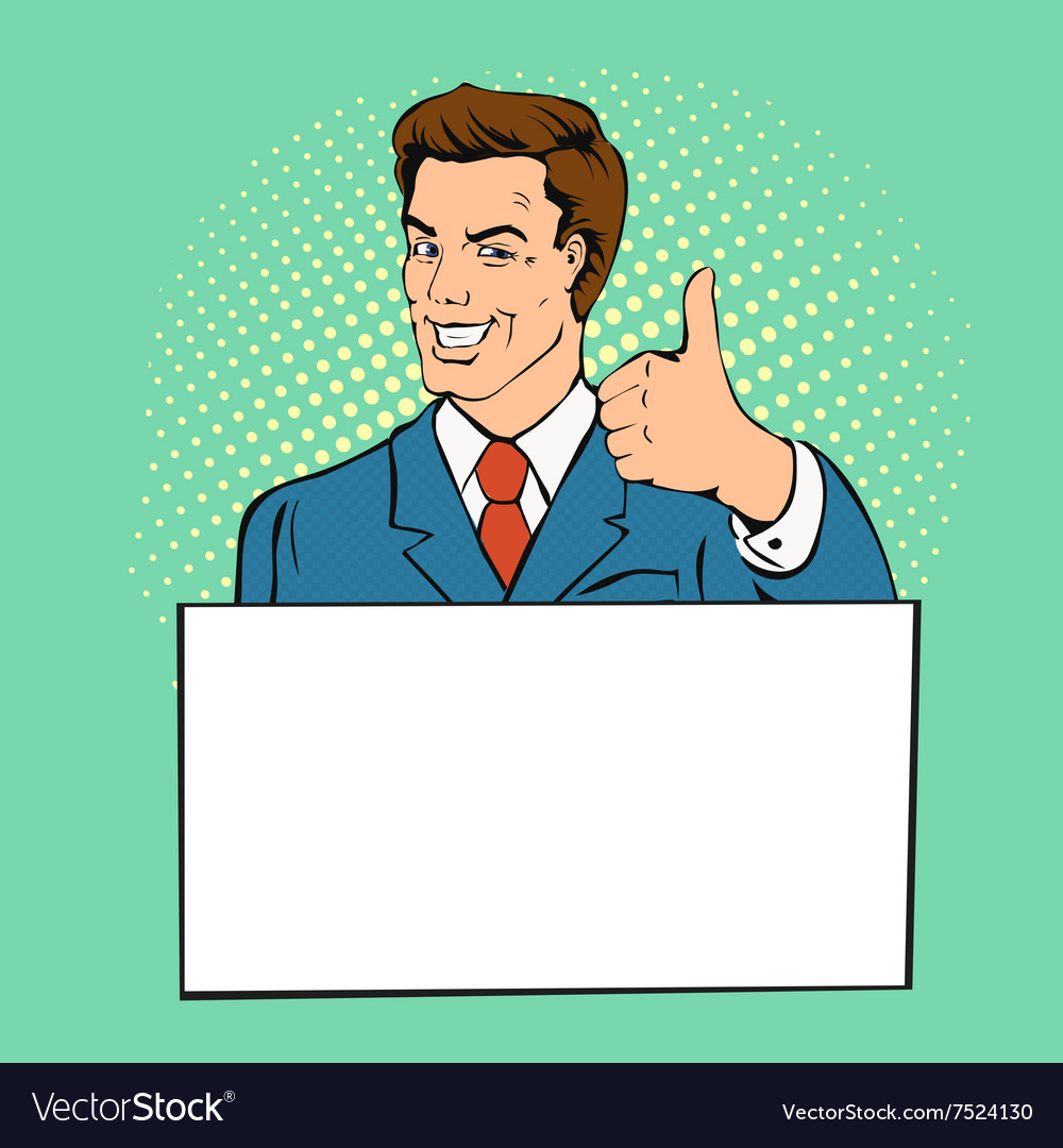 Advertising man with banner place for text vector