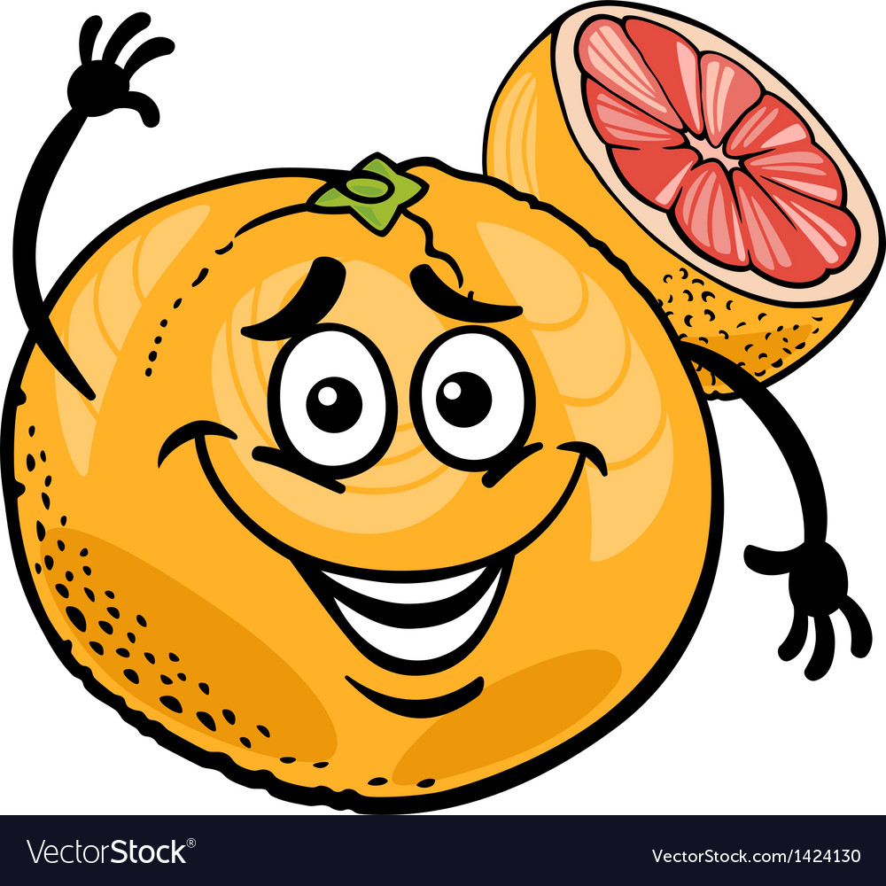 Red grapefruit fruit cartoon vector